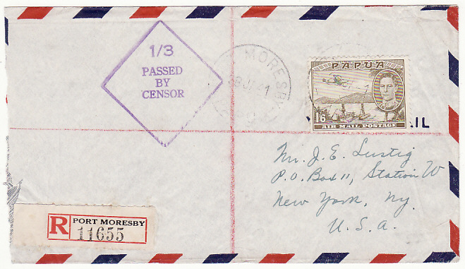 [15213]  PAPUA & N.G-USA…WW2 REGISTERED CENSORED AIRMAIL..  1941(Jan 28)
