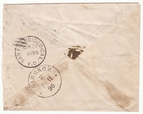 [15567]  USA-THAILAND….1896 EARLY INCOMING MAIL..  1896(Sep 23)