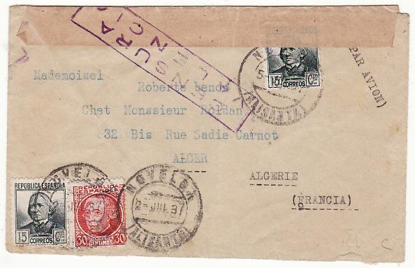 SPAIN-ALGERIA...SPANISH CIVIL WAR with REPUBLICAN CENSOR..
