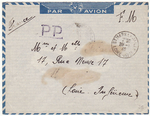 SENEGAL-FRANCE….1940 FRENCH NAVAL MAIL..