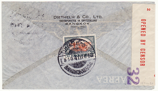 [15825]  THAILAND-USA..WW2 AIRMAIL CENSORED in AUSTRALIA..  1941(Oct 8)