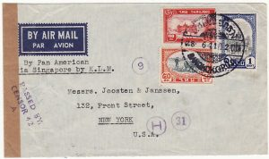 THAILAND-USA..WW2 AIRMAIL CENSORED THAILAND & SINGAPORE ..]