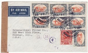 THAILAND-USA ..WW2 AIRMAIL CENSORED THAILAND & SINGAPORE ..