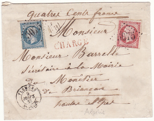 [15847]  ALGERIA - FRANCE ..1863 FRENCH COLONIES VALUE DECLARED from TLEMCEN to BRIANCON..  1863(Mar 9)