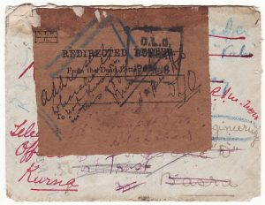 INDIA - IRAQ...WW1..I.E.F. REDIRECTED LETTER with D.L.O…