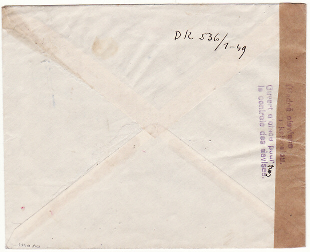 [16047]  CYPRUS-CZECHOSLOVAKIA...REGISTERED CENSORED AIRMAIL…  1949(Oct 8)