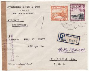 CYPRUS-CZECHOSLOVAKIA...REGISTERED CENSORED AIRMAIL…