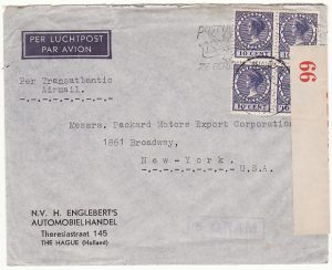 NETHERLANDS-USA...AIRMAIL & CENSORED in BERMUDA..