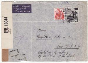SWITZERLAND-USA…WW2 CENSORED in BERMUDA using ANTIGUA LABEL