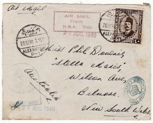 EGYPT-AUSTRALIA..WW2 CENSORED AIRMAIL FROM H.M. SHIP..