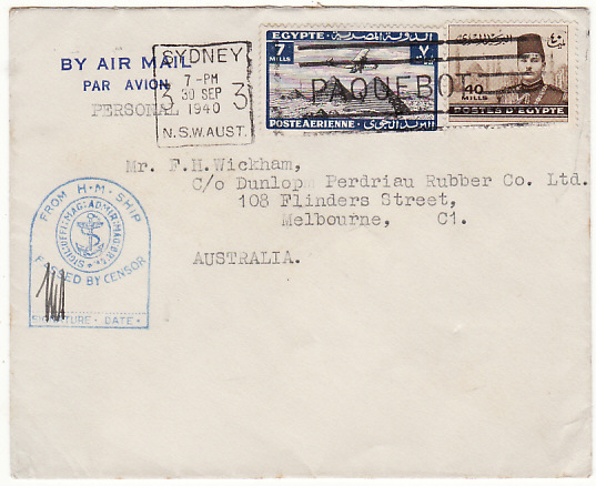 [16708]  EGYPT-AUSTRALIA…WW2 CENSORED NAVAL MAIL with PAQUEBOT..  1940(Sep 30)