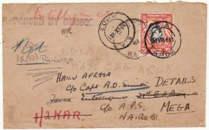 KENYA-ETHIOPIA...WW2 BRITISH OCCUPATION  INTELLIGENCE UNIT & FORWARDED..