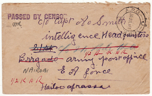 [16767]  KENYA-ETHIOPIA...WW2 BRITISH OCCUPATION INTELLIGENCE HQ & FORWARDED from NATIVE SOLDIER..  1941(May 29)