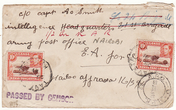 [16768]  KENYA-ETHIOPIA...WW2 BRITISH OCCUPATION INTELLIGENCE HQ & FORWARDED to NATIVE SOLDIER..  1941(May 29)