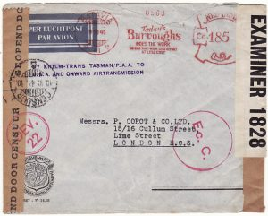 N.E.I.-GB…WW2 CENSORED TRANS PACIFIC & TRANS ATLANTIC 2 OCEAN AIRMAIL with OAT..