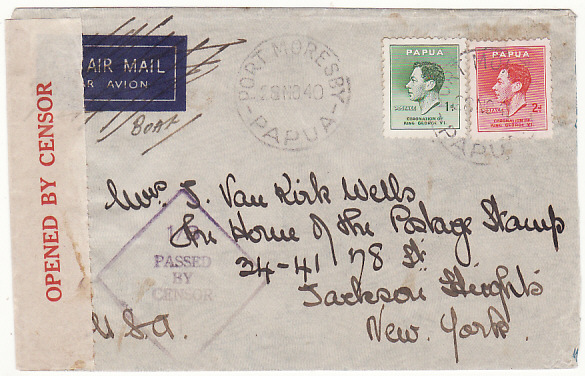 [16810]  PAPUA & N.G.-USA...WW2 CENSORED AIRMAIL..  1940(Nov 28)
