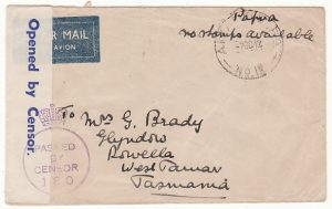 PAPUA & N.G.-AUSTRALIA... WW2 CENSORED AIRMAIL to TASMANIA..