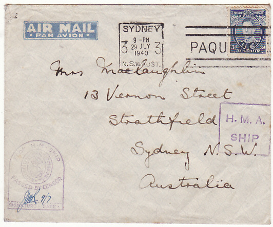 [16771]  AUSTRALIA…WW2 AIRMAIIL NAVAL with CENSOR & PAQUEBOT..  1941(Jul 9)
