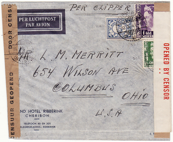 [16677]  NED. EAST INDIES-USA.. WW2 AIRMAIL PER CLIPPER & DOUBLE CENSORED in NEI & AUSTRALIA..  1941(Mar 12)