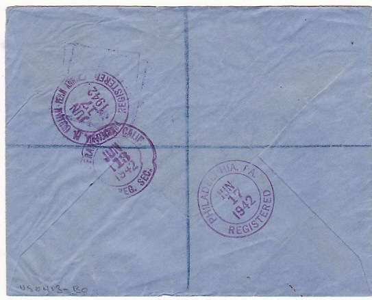 [16887]  TONGA - USA...WW2 REGISTERED CENSORED….  1942 (Apr 30)