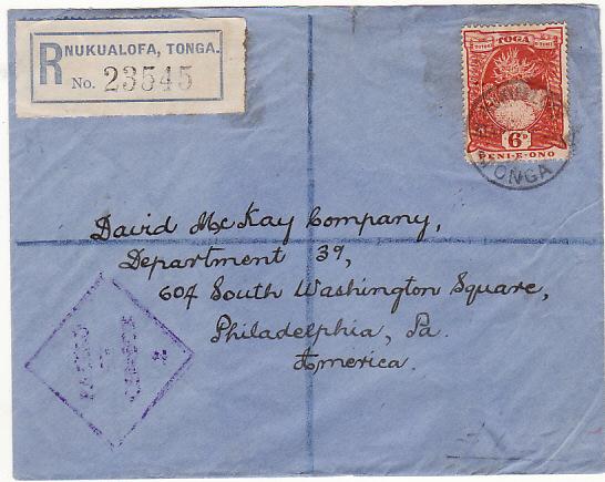 TONGA - USA...WW2 REGISTERED CENSORED….