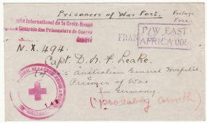 KENYA-GERMANY...WW2 to POW at 5th AUSTRALIAN HOSPITAL & FORWARDED to GREECE..