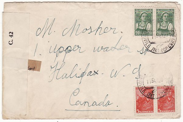 LITHUANIA-CANADA..1941 CENSORED JUDAICA