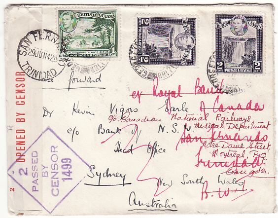 [19487]  BRITISH GUIANA - AUSTRALIA …WW2 FORWARDED TO TRINIDAD then CANADA…  1942 (Jan)