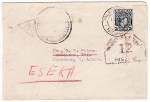 NIGERIA-CAMEROUN...WW2 DOUBLE CENSORED & FORWARDED..