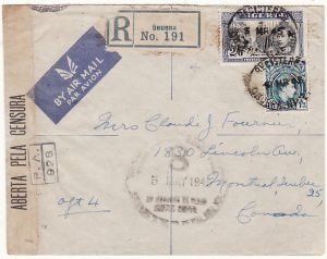 NIGERIA-CANADA ...WW2 REGISTERED AIRMAIL CENSORED in BRAZIL