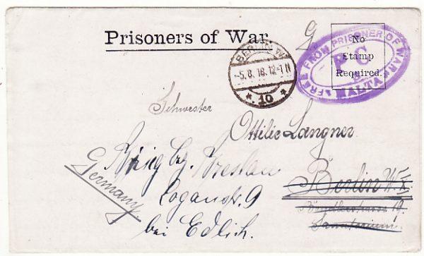 MALTA-GERMANY..WW1 POW MAIL..