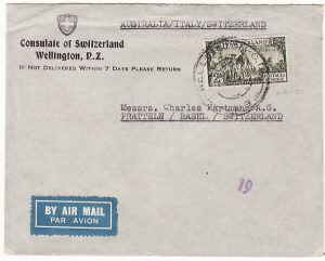 NEW ZEALAND-SWITZERLAND…AIRMAIL via AUSTRALIA & ITALY from SWISS CONSULATE..
