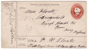 INDIA-GB… 1893 SOLDIERS & SAILORS ENVELOPE..