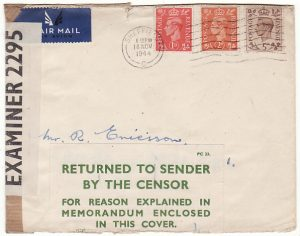 GB-SWEDEN...RETURNED BY CENSOR with ENCLOSURE..