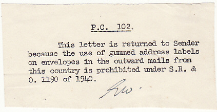 [16250]  GB-IRELAND….RETURNED BY CENSOR with ENCLOSURE..  1940(Oct 18)