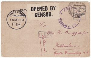GIBRALTAR-HOLLAND …WW1 CENSORED POW MAIL..