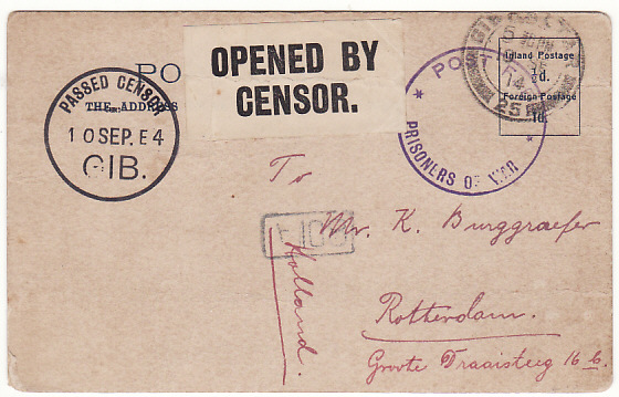 [16276]  GIBRALTAR-HOLLAND …WW1 CENSORED POW MAIL..  1914(Sep 8)