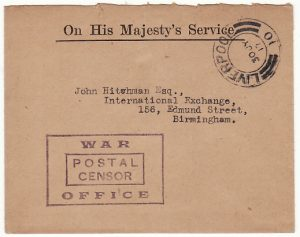 GREAT BRITAIN…. WW1 INTERNAL OHMS MAIL with WAR OFFICE CENSORSHIP..