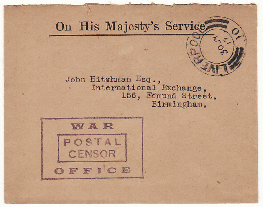[16383]  GREAT BRITAIN…. WW1 INTERNAL OHMS MAIL with WAR OFFICE CENSORSHIP..  1917(Jul 30)