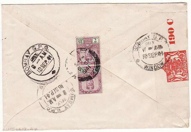 [16455]  MALAYA-INDIA …WW2 DOUBLE CENSORED from JOHORE..  1941(Sep 6)