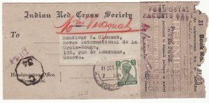 INDIA - SWITZERLAND….1944 CENSORED RED CROSS WRAPPER via BOOK POST…