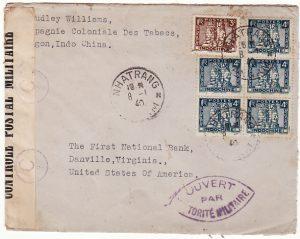 INDO-CHINE-USA...WW2 CENSORED from ANNAM..