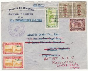GUATEMALA-GB…WW2 LEGATION MAIL to POW LINGFIELD RACECOURSE CAMP….