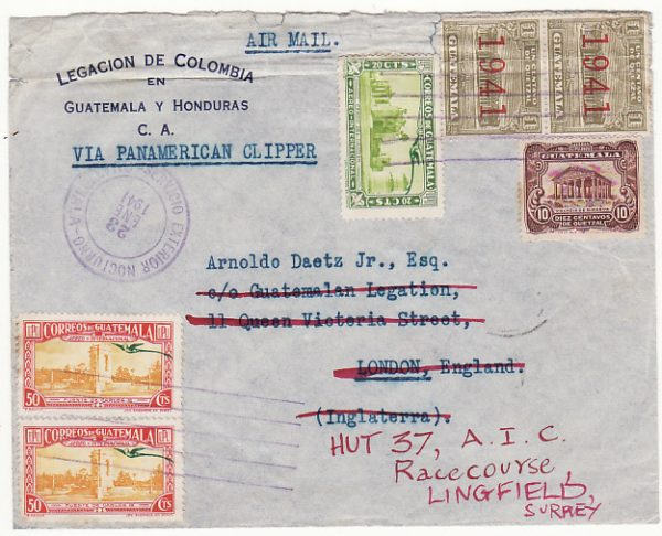 GUATEMALA-GB…WW2 LEGATION MAIL to POW LINGFIELD RACECOURSE CAMP….