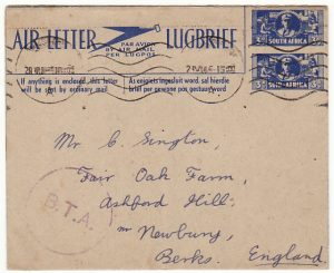 SOUTH AFRICA-GB..WW2 WAR EFFORT AIR LETTER from BAVAGIVANATH HOSPITAL..
