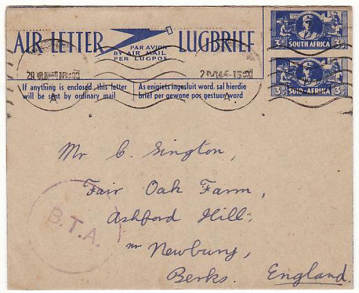 SOUTH AFRICA-GB..WW2 WAR EFFORT AIR LETTER from BAVAGIVANATH HOSPITAL..