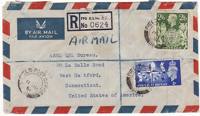 [16811]  TRANSJORDAN-USA….ARAB LEGION REGISTERED AIRMAIL…  1951(Jun 11)