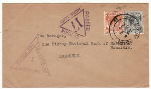 MALAYA-HAWAII...WW2 CENSORED SINGAPORE & HONG KONG..