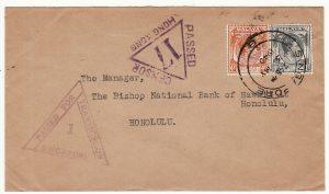 MALAYA-HAWAII...WW2 CENSORED SINGAPORE & HONG KONG..