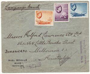 SEYCHELLES-AUSTRALIA...WW2 REGISTERED & DOUBLE CENSORED..